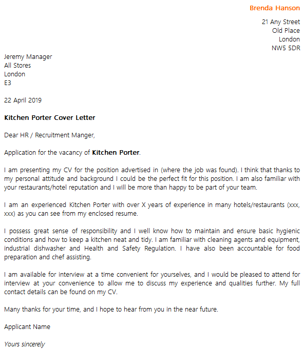 Kitchen Porter Cover Letter Example Icover Org Uk