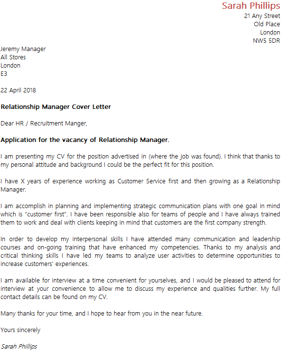 One Of The Many Examples Of Nursing Cover Letters Has Been: Relationship Manager Cover Letter Example