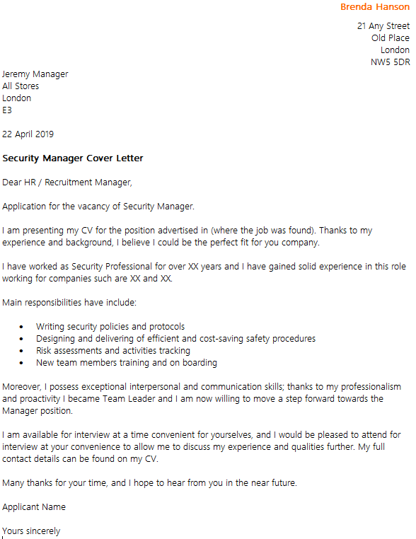 Security manager cover letter example for I am willing to relocate cover letter