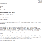 Boiler Technician Cover Letter Example