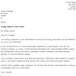 Energy Advisor Cover Letter Example