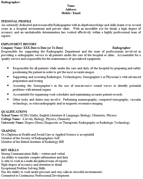 Radiographer CV Example - icover.org.uk