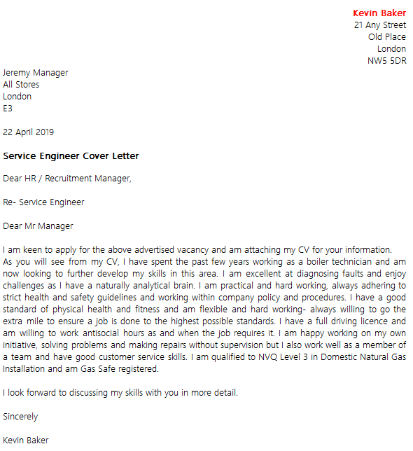 Service Engineer Cover Letter Example Uk