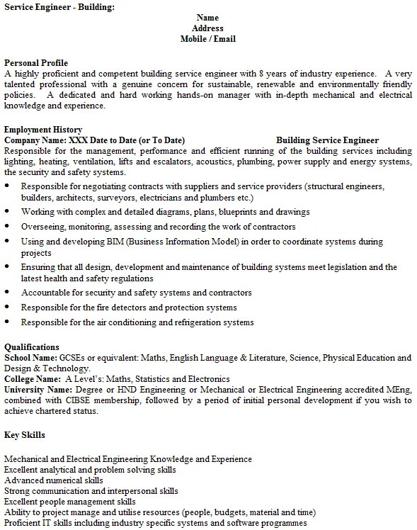service engineer cv example
