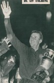 Russian goalkeeper Yashin holds the Henri Delaune Cup, trophy with name of one of the founder of UEFA, in front of 18,000 spectators, after winning of URRS against France at the Parc des Princes, in Paris, on July 10, 1960 (courtesy FOOTBALL MAGAZINE)