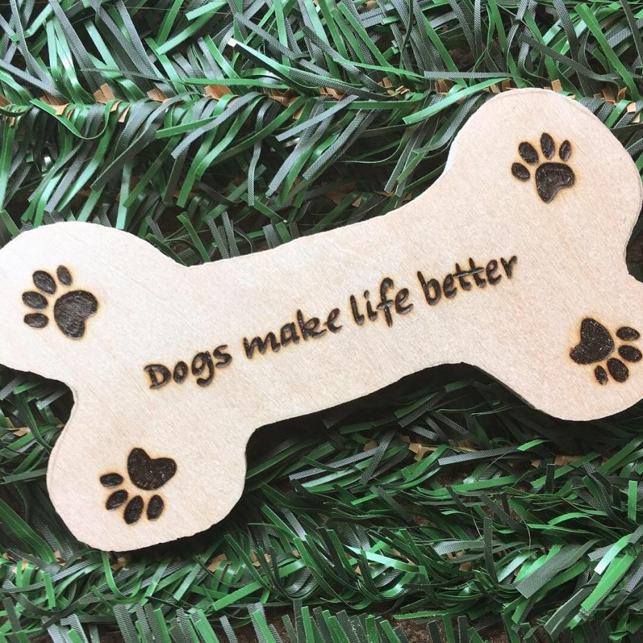 Dogs Make Life Better Magnet Dog Bone Magnet Dog Paw Prints