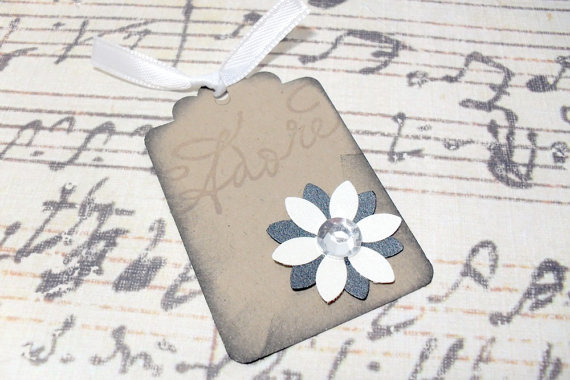 12pc Adore Elegant Rhinestone Flower Mini Kraft Paper Distressed Tags