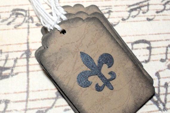 12pc Black Metallic Fleur de Lis Travel to Paris Mini Kraft Paper Distressed Tags