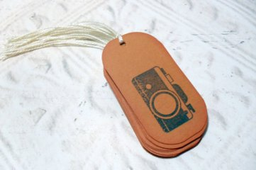 12pc Brown Vintage Camera Distressed Mini Tags