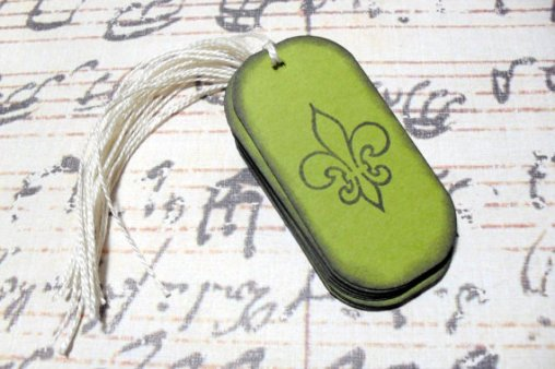 12pc Green Fleur de Lis Distressed Mini Tags