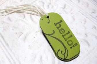 12pc Moss Green Swirl Hello Mini Tags