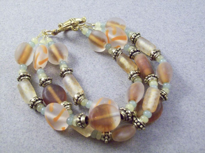 3 strand molten glass beaded chunky bracelet