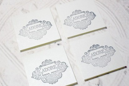 4 pc Metallic Stamped Adore Mini Cards - 2x2