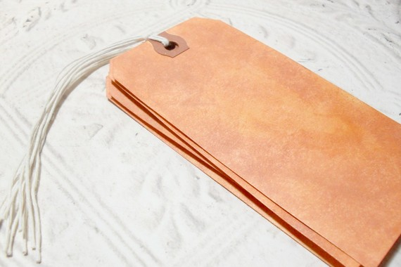 4 pc Terra Cotta Metallic Stained Luggage Style Tags