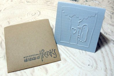 4pc Embossed Bird and Tree Thank You Mini Cards with Envelopes - 2x2
