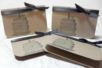 4pc Fly Hanging Birdcage Mini Cards with Ribbon Tie