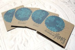 4pc Kraft Scallop Circle Handmade Thank You Mini Cards - 2x2