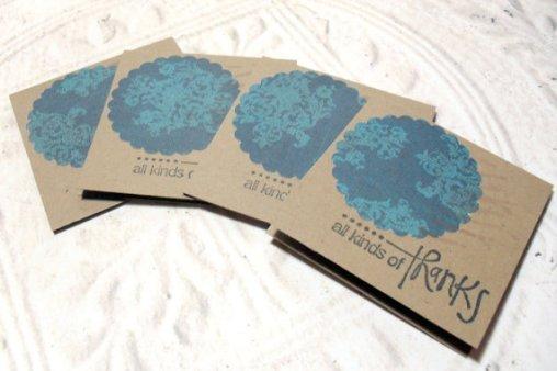 4pc Kraft Scallop Circle Handmade Thank You Mini Cards - 2x2