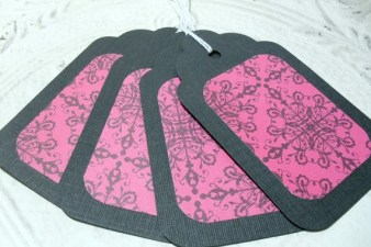 4pc Large Black and Pink Demask Pattern Gift Tags