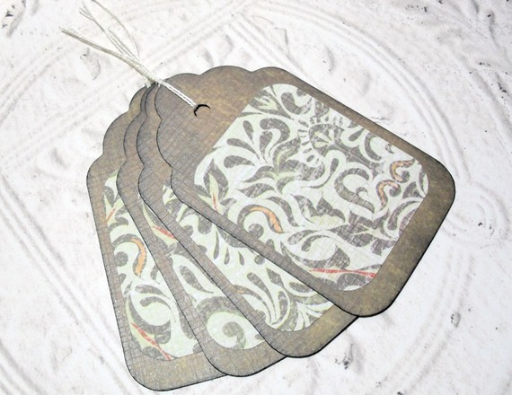 4pc Large Brown Green Floral Rustic Distressed Gift Tags