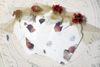 4pc Large Handmade Paper Flower Pearl Pin Tags