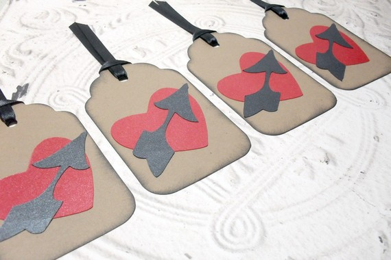 4pc Large Kraft Metallic Arrow Through Heart Distressed Tags with Black Ribbon