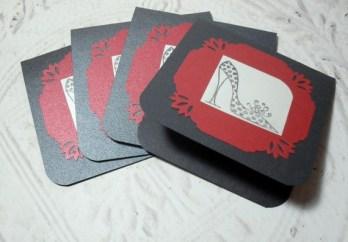 4pc Metallic Cardstock Fashion Shoe Stamped Mini Card - 3x3 Set I
