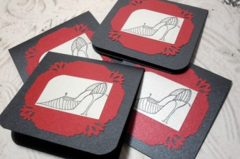 4pc Metallic Cardstock Fashion Shoe Stamped Mini Card - 3x3 Set II