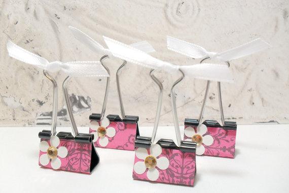 4pc Pink Demask White Metallic Flower Photo Holder Binder Clips