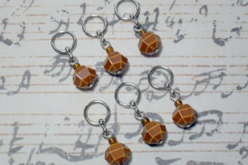 6pc Brown Acrylic Beaded Stitch Markers