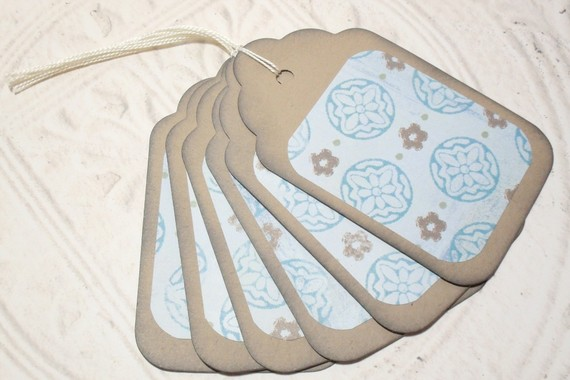 6pc Large Kraft Paper Brown Blue Flower Distressed Gift Tags