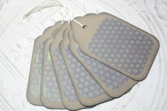 6pc Large Kraft Paper Brown Green Mini Flower Distressed Gift Tags