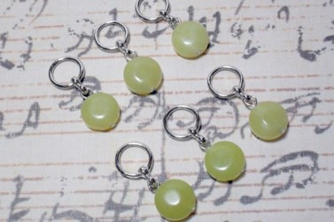 6pc Olive Jade Coin Beaded Stitch Markers