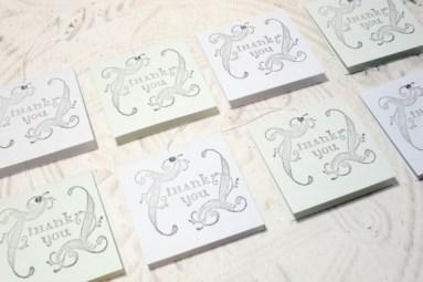 8 pc Swirl Thank You Pastel Blue Green Mini Cards - 2x2