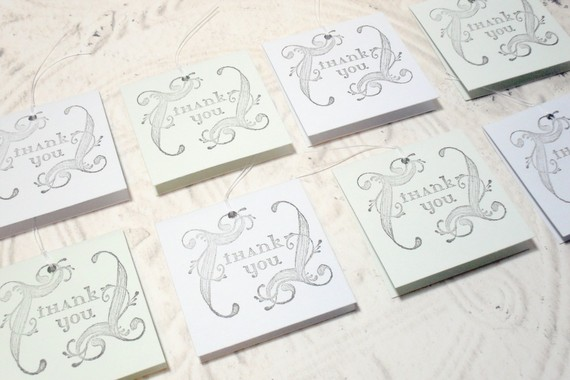 8 pc Swirl Thank You Pastel Blue Green Mini Cards - 2x2