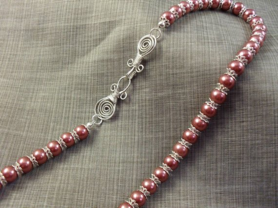 Aztec Wonder Maroon Glass Pearl Necklace