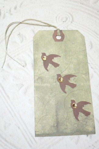 Birds in Flight Embossed Distressed Altered Luggage Style Tag