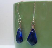 Blue Briolette Wire Wrapped Drop Earrings