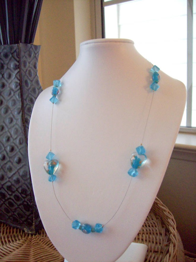 Blue Heart Glass Floating Necklace