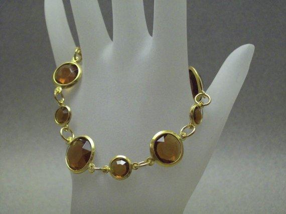 Brown Gold Acrylic Beaded Linked Bracelet