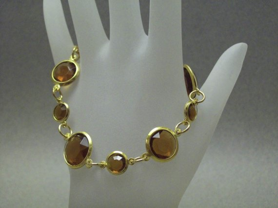 Brown Gold Acrylic Beaded Linked Bracelet