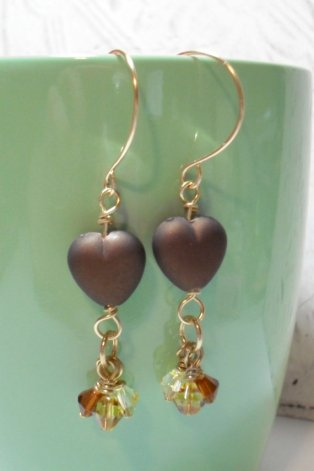 Brown Heart Hanging with Bicones Dangle Earrings