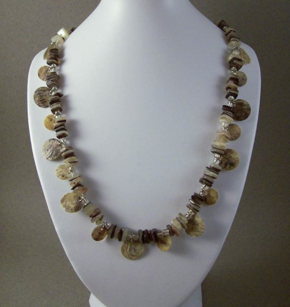 Brown Mother of Pearl Shell and Chip Necklace