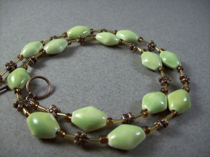 Copper flower green ceramic necklace