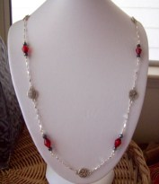 Dainty Red and Hematite Chained Necklace