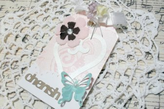Extra Large Elegant Chic Cherish Lace Butterfly Glittered Tag