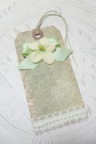 Flowers and Lace Embossed Distressed Altered Luggage Style Tag