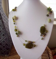 Green Floating Acrylic Extra Long Layered Necklace