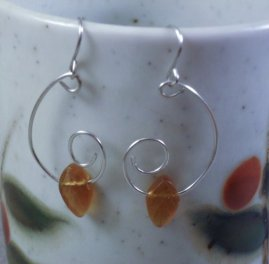 Handcrafted Wire Wrapped Leaf Earrings