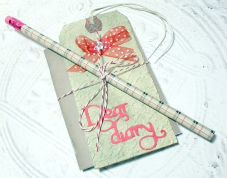 Mini Journal Tag and Pencil Set - Embossed Tag with Bow